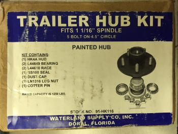 "Trailer Hub Kit 1 1/16"" Spindle 5 Bolt Painted Waterland Supply 95-HK116"
