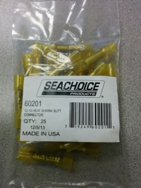 Heat Shrink Butt Connector 12-10 Yellow Pack Of 25 Seachoice 60201