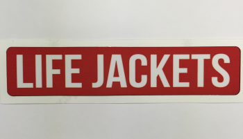 "Safety Decal Boat Marine ""Life Jackets"" White Font"