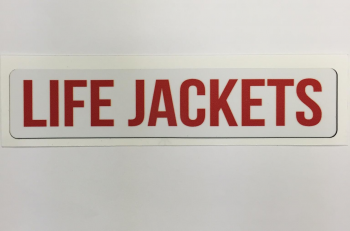 "Safety Decal Boat Marine ""Life Jackets"" Red Font"
