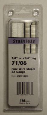 """Upholstery Staples Stainless Steel 71 Series 22Ga Gauge 3/8"""" Crown 1/4"""" Leg  JA7106SS"""