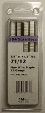 """Upholstery Staples Stainless Steel 71 Series 22Ga Gauge 3/8"""" Crown 1/2"""" Leg  JA7112SS"""